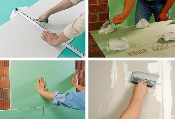Как клеить гипсокартон к стене