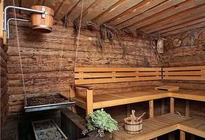 Отделка стен бани доской