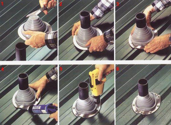 Как правильно сделать трубу в металлочерепица