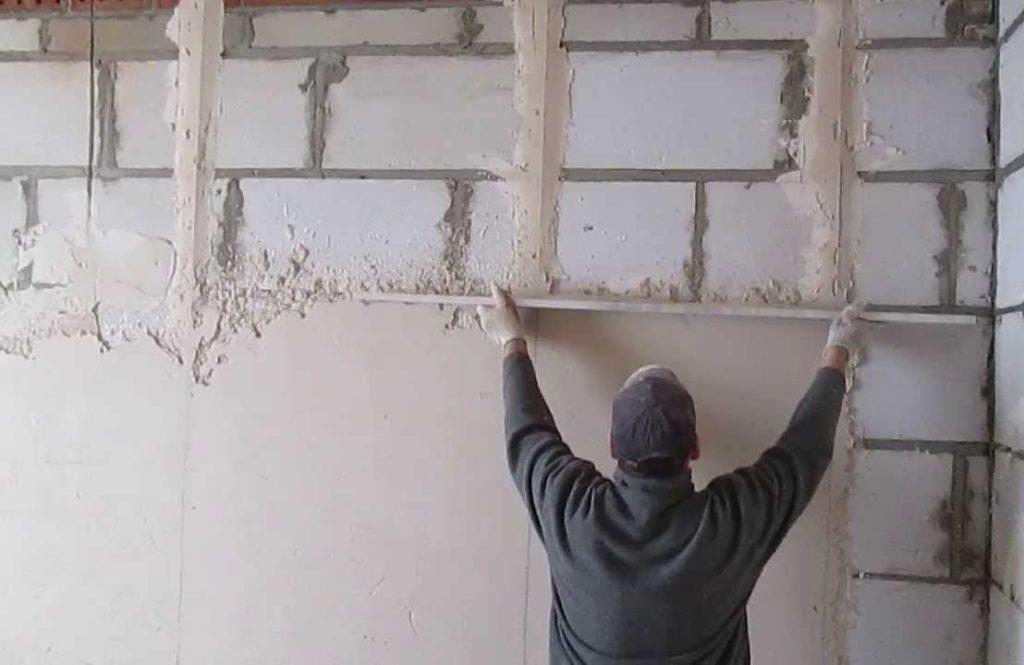 штукатурка газоблока цементным раствором внутри помещения