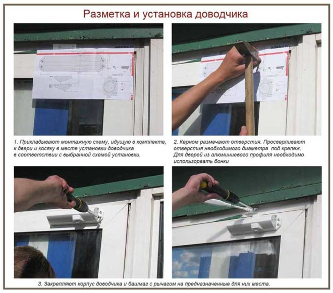 Установка и регулировка дверного доводчика