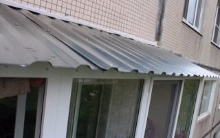 Монтаж крыши на балконе последнего этажа