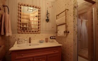 Укладка плитки в деревянном доме на стены